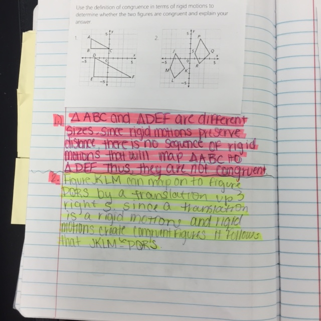 Interactive notebook - South Cobb Geometry